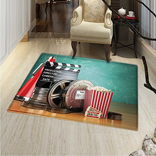 (Movie Theater Dining Room Home Bedroom Carpet Floor Mat Production Theme D Film Reels Clapperboard Tickets Popcorn and Megaphone Non Slip rug 55