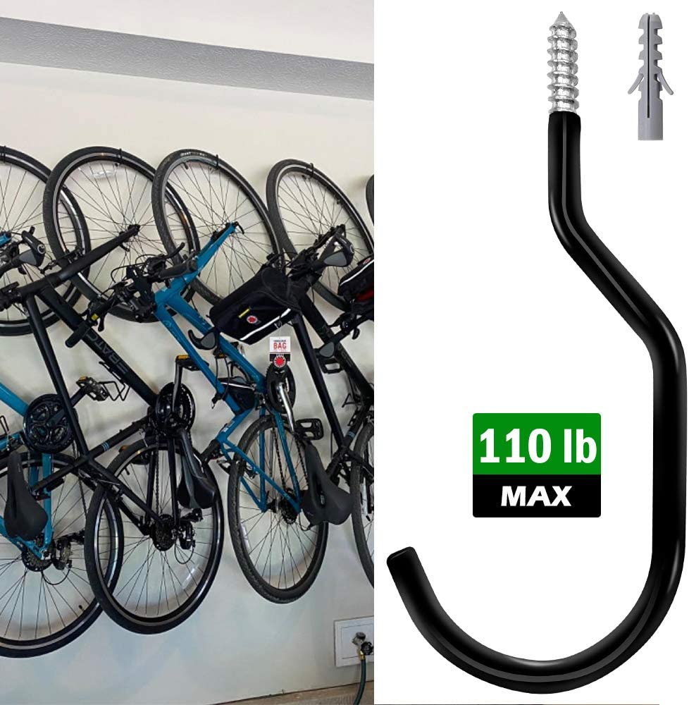 5 Pack Heavy Duty Bike Storage Garage Hooks Set Basement Tool Shop Wall and Ceiling Mount Bicycle Hang Garden Hose Cords /& More up to 110 lbs