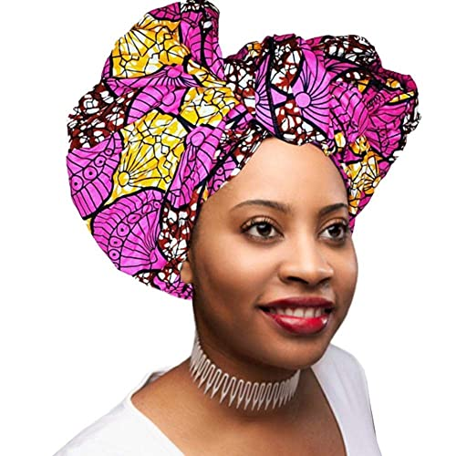 Head Scarfs and Wraps African Print Turban Hats Ethnic Tribe (Pink, Brown and Orange