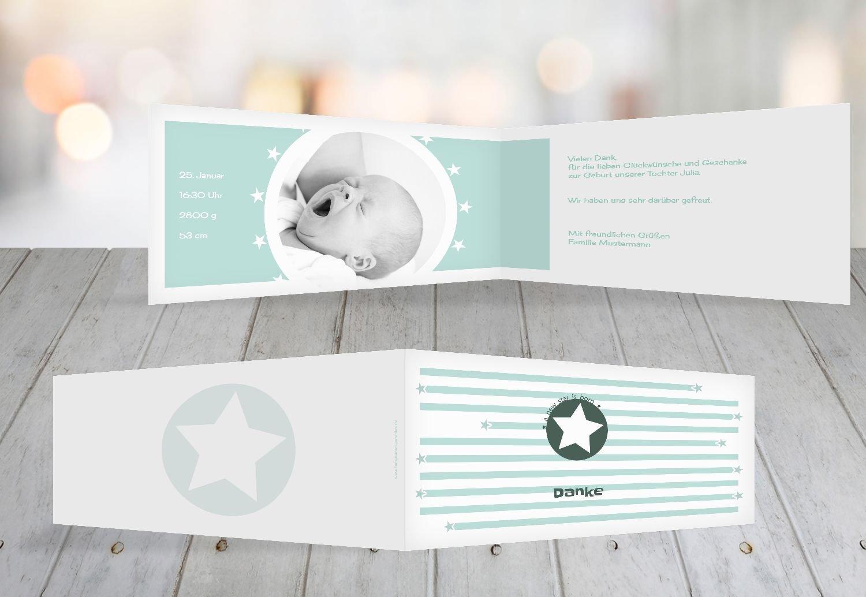 Kartenparadies Danksagung für Geburt Baby Dankeskarte a new star, hochwertige Danksagungskarte Baby inklusive Umschläge   100 Karten - (Format  215x105 mm) Farbe  Hellbraun B01MZFQ79O | Moderate Kosten  | Kaufen  | Elegant