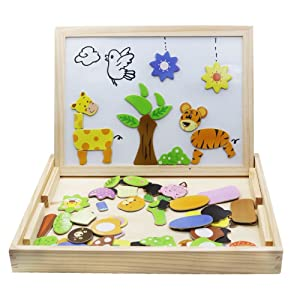 Wooden Toys Magnetic Puzzles Kids Wooden Games 109 Pieces Double Side Education Learning Toys for Children