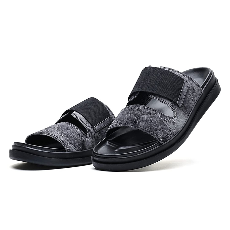 [XINXIKEJI]コンフォートサンダル メンズ  ローマ風 おしゃれ 歩きやすい 快適 お兄系 内履き 外履き 高級感たっぷり 滑りにくい スリッパ アウトドア 厚底サンダル 黒/ブラック B071LQFV2D