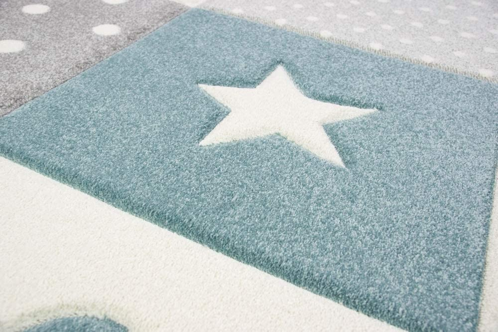 Merinos Kinderteppich Junge Teppich Kinderzimmer mit Stern Wolke in Blau Grau Creme Gr/ö/ße 80x150 cm