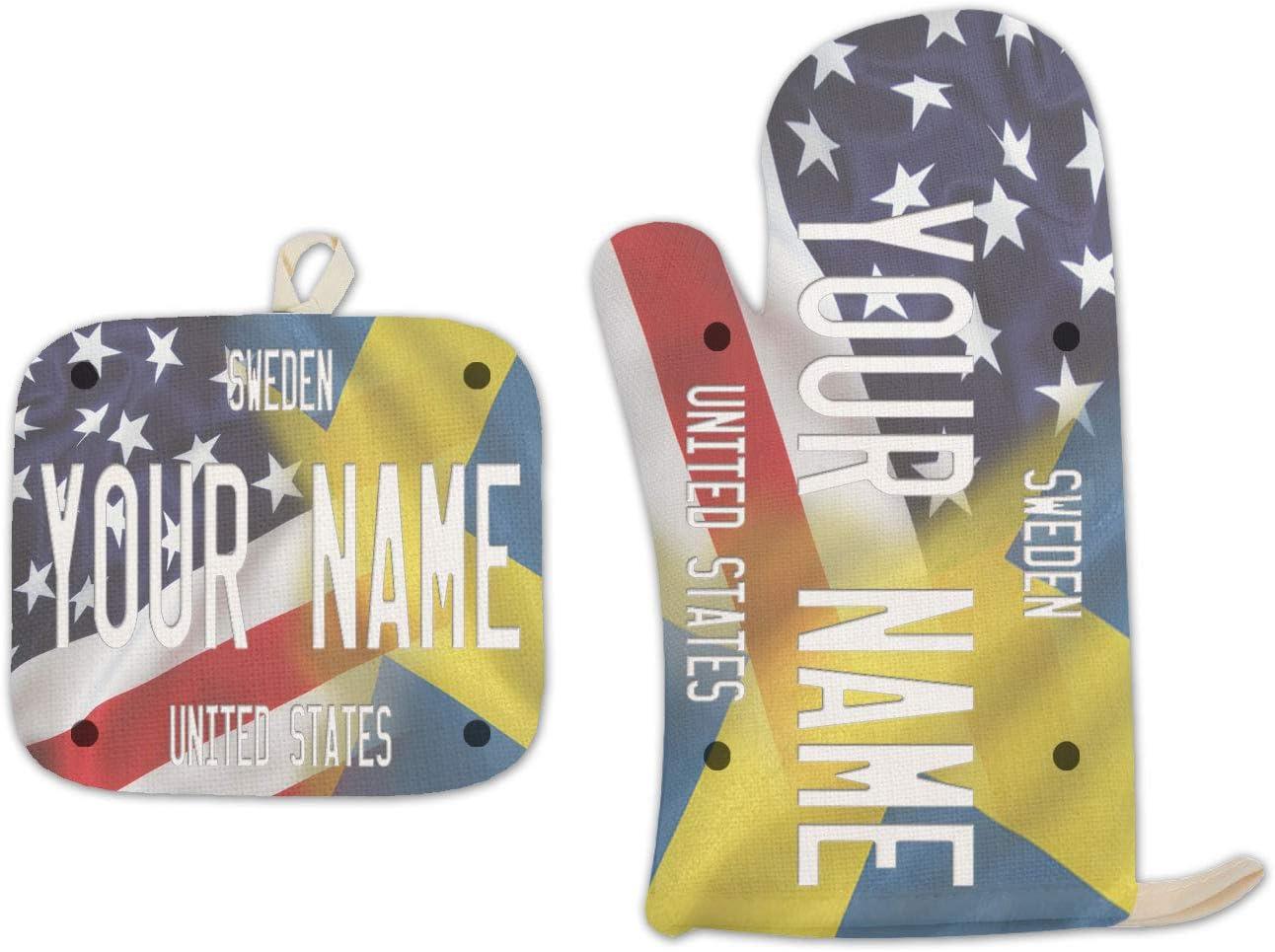 Bleu Reign BRGiftShop Personalized Custom Name Mixed USA and Sweden Flag Linen Oven Mitt and Potholder Set