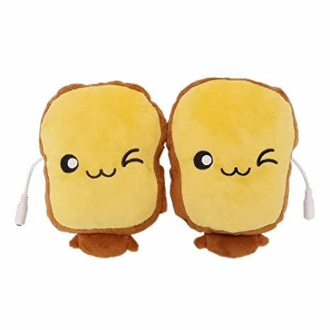 Toast USB Hand Warmers Cute USB Heating Gloves Half Wearable Fingerless 5V  USB Powered Heated Hand Warmer Gloves with Gift Box for Women and Children