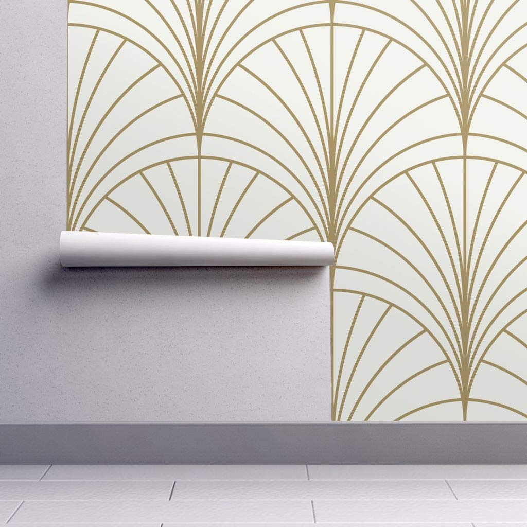 Removable Water,Activated Wallpaper , Art Deco Art Deco Gold