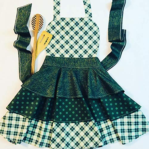 (Green plaid and polka dot apron dress)