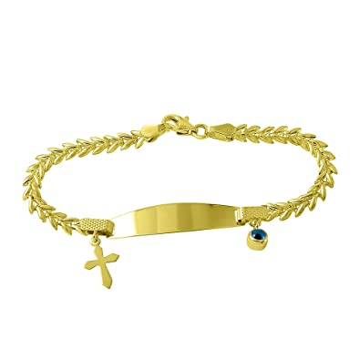 Amazoncom Solid 14k Gold Religious Cross Baby Bracelet with Blue