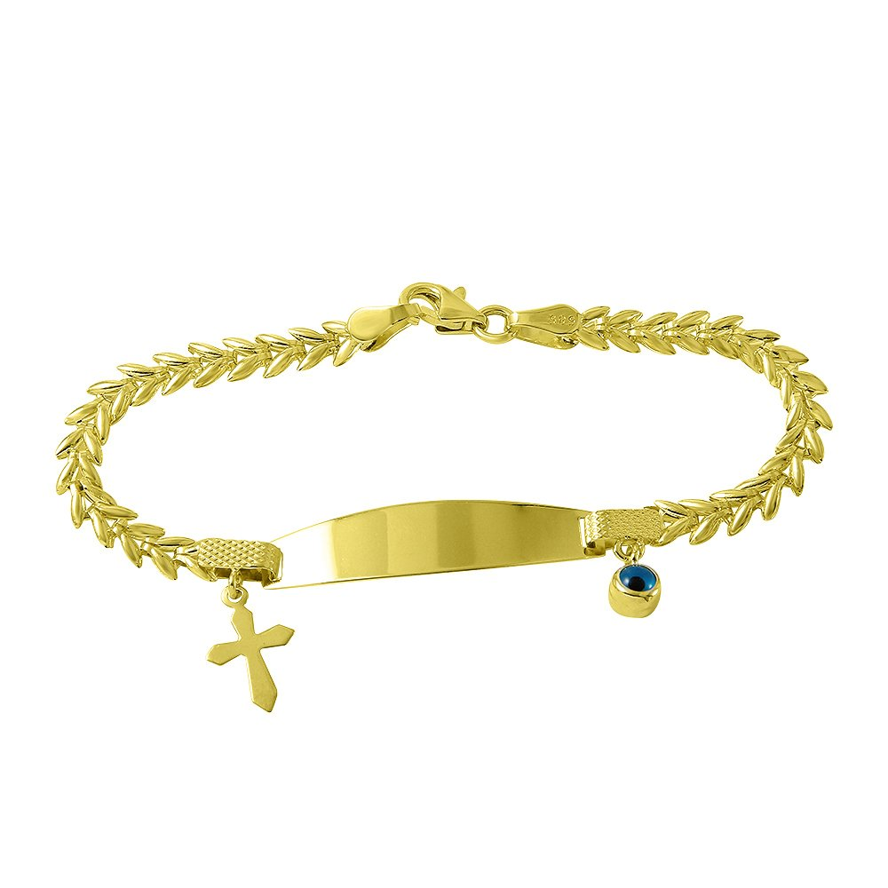 Fine 14k Gold Religious Cross Baby ID Bracelet with Evil Eye 5.5''