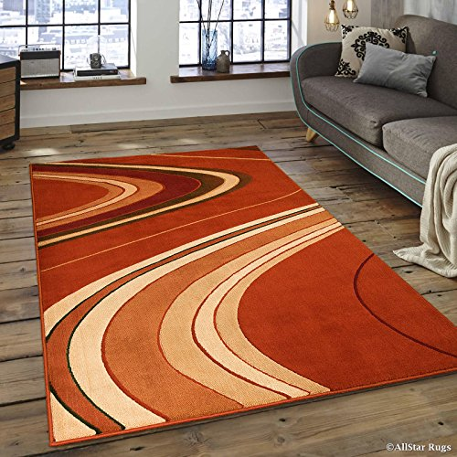 Allstar 8x10 Rust Modern and Contemporary Machine Carved Rectangular Accent Rug with Ivory, Mocha and Espresso Wavy Line Design (7' 9