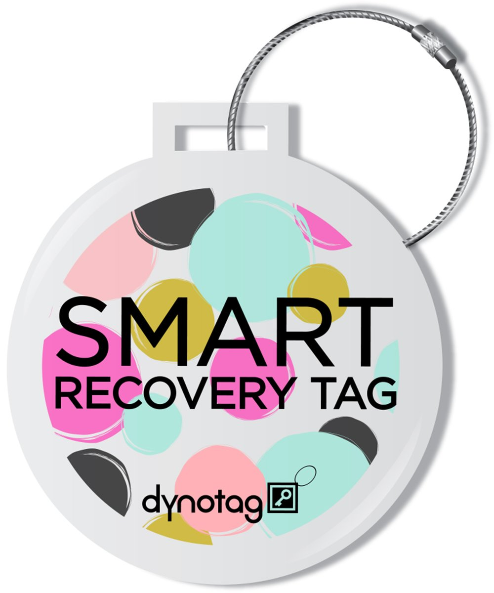 Dynotag Web Enabled Smart Deluxe Steel Luggage ID Tag & Braided Steel Loop, with DynoIQ & Lifetime Recovery Service (Dots)