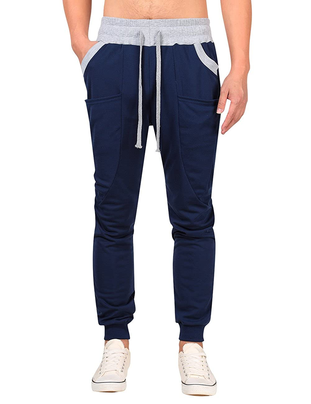cf0ea6449c0c68 Yong Horse Mens Casual Sweat Pants Drawstring Stitch Elastic Bottom Slim  Fit Joggers (XL Navy) at Amazon Men's Clothing store:
