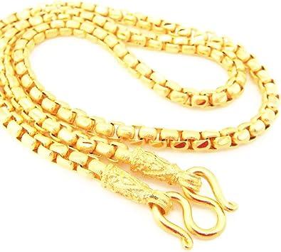Amazon Com Chain 22k 23k 24k Thai Baht Gold Gp Necklace 24 50 Grams Jewelry Free Earrings 1 Pair Jewelry
