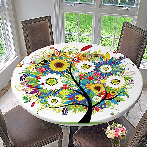 Mikihome Round Tablecloth Floral Tree Beautiful for Kitchen 47.5
