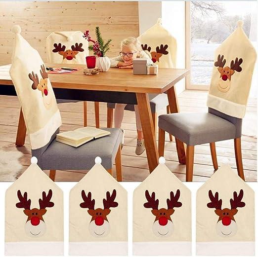 Reno Navidad para sillas (Juego de 4) ciervo Navidad mesa ...