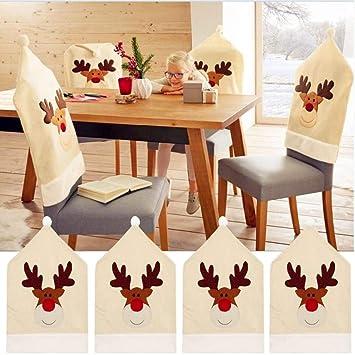 Renne Noel Housse De Chaise Lot De 4 Cerf De Noel Decoration Table