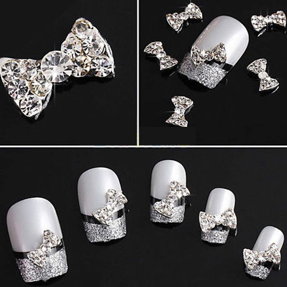 Lookathot 10PCS 3D Heart Bowknot Crown Nail Art Decals Metallic Silver Studs Rhinestones Diamonds Pearls Drills Alloy Manicure DIY Decoration Tools (Bowknot-3(10pcs))