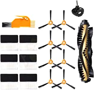 SODIAL 17Pcs Side Brush Caster Filter for DEEBOT 600 601 605 710 N79 N79S Vacuum Cleaner Spare Parts