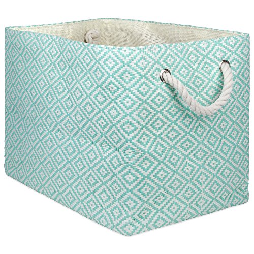 """DII Oversize Woven Paper Storage Basket or Bin, Collapsible & Convenient Home Organization Solution for Office, Bedroom, Closet, Toys, Laundry(Medium – 15x10x12""""), Aqua Geo Diamond"""