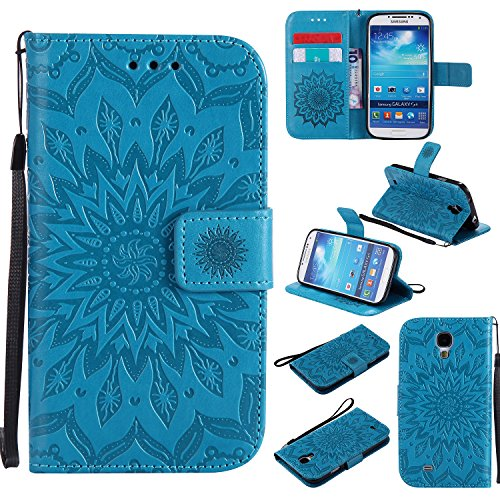 Galaxy S4 Wallet Case,A-slim(TM) Beauty Fashion Sun Pattern Embossed PU Leather Magnetic Flip Cover Card Holders & Hand Strap Wallet Purse Cover Case for Samsung Galaxy S4 I9500 - Blue