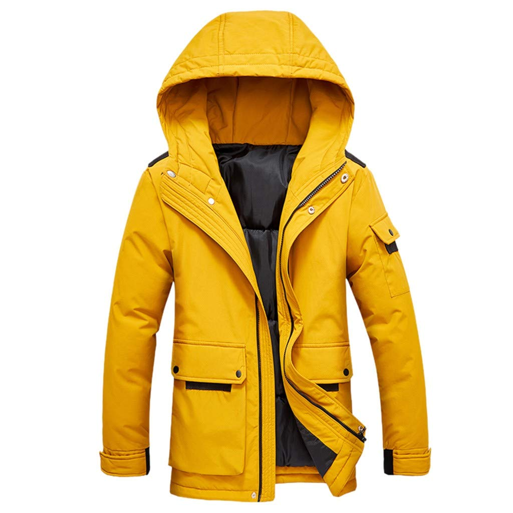 Allywit-Mens Winter Snow Warm Parka Windproof Cotton Lined Coat Thicken Jacket with Removable Hood Plus Size by Allywit-Mens