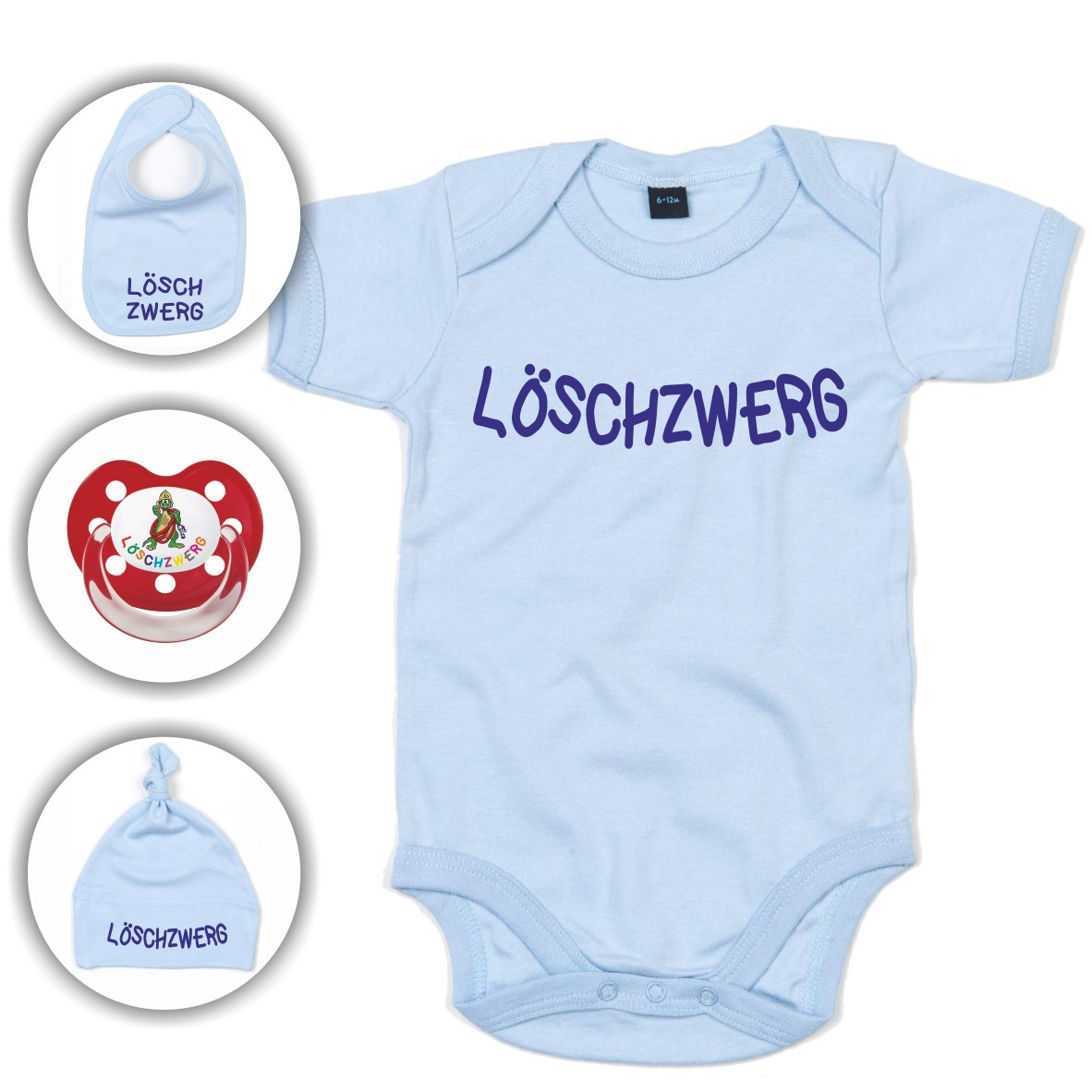 Babyset Feuerwehr Löschzwerg - Strampler/Schnuller/Mütze/Lätzchen/0-12 Monate/Komplettset/Beruhigungssauger + Babybody (0-3 Monate, Hellblau) Roter Hahn 112