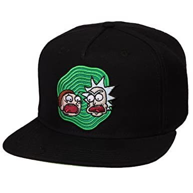 Rick and Morty Adult s Black Snapback Hat at Amazon Men s Clothing ... 44db38b80aec