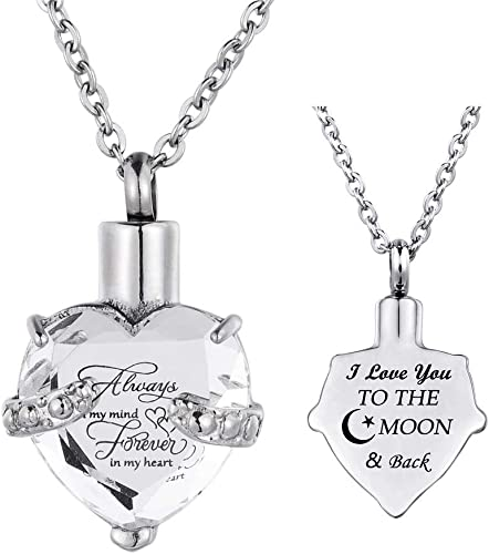 wonderful jewerly Cremation Urn Necklace for Ashes Stainless Steel Crystal Always in My Heart Urn Memorial Keepsakes Pendant Cremation Jewelry