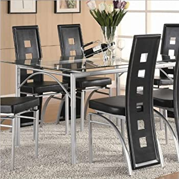 Amazon.com - Coaster Rectangular Dining Table with Glass Top Metal ...