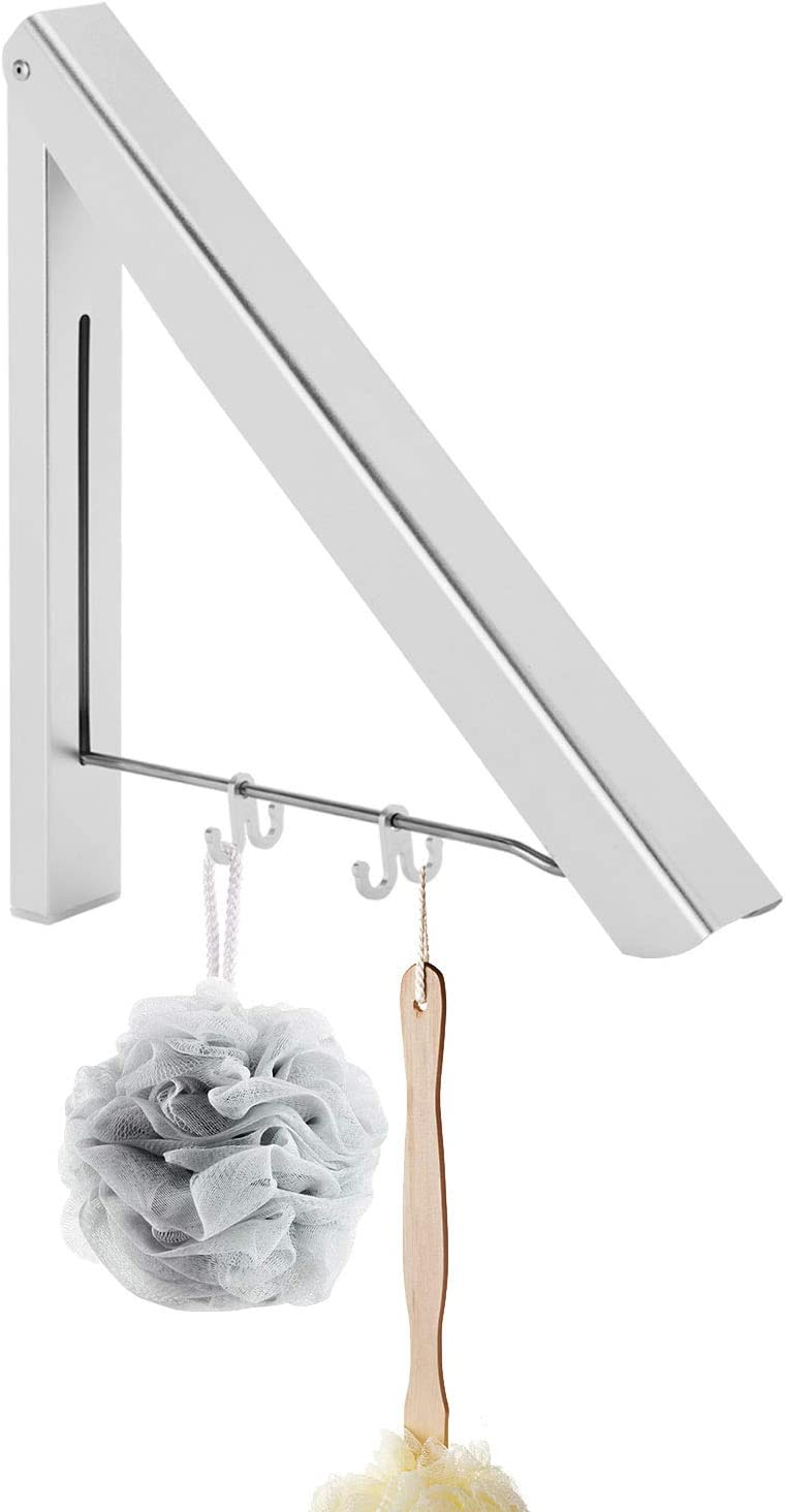 MorNon Foldable Coat Hanger Wall Mounted Drying Rack Coats Rack for Home Storage Organiser Space Savers, Easy to Install for Laundry Room Balcony Closet Storage Organization