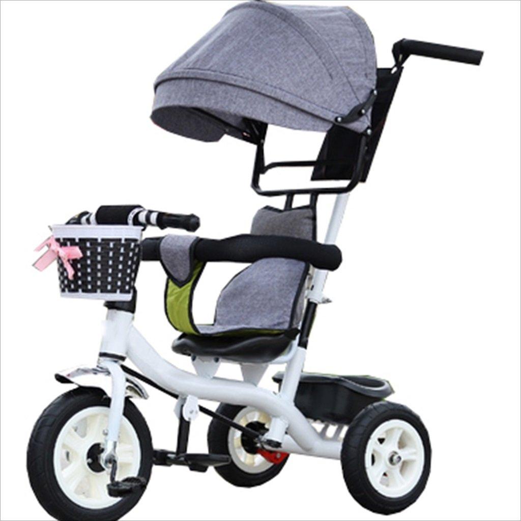 子供の屋内屋外の小さな三輪車自転車の男の子の自転車6ヶ月6歳の赤ちゃんの三輪車のトロリー天井、ゴムホイール(グレー、ホワイト) B07DVJ6NLD