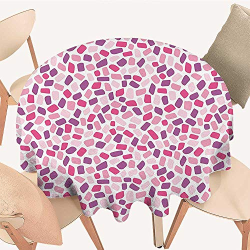 (Dragonhome Premium Round Tablecloth Colorful Polygons in Fractal Stylish Little Mosaic Geometric Print Light Pink Violet Everyday Use, 35 INCH Round)