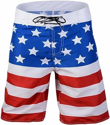 TieNew Bañador de natación para Hombre, Verano Troncos de natación para Hombres Patrón de Bandera Estadounidense Shorts de Playa de Secado rápido, Hombre Bañadores de Natación Pantalones Baño Shorts: Amazon.es: Ropa y