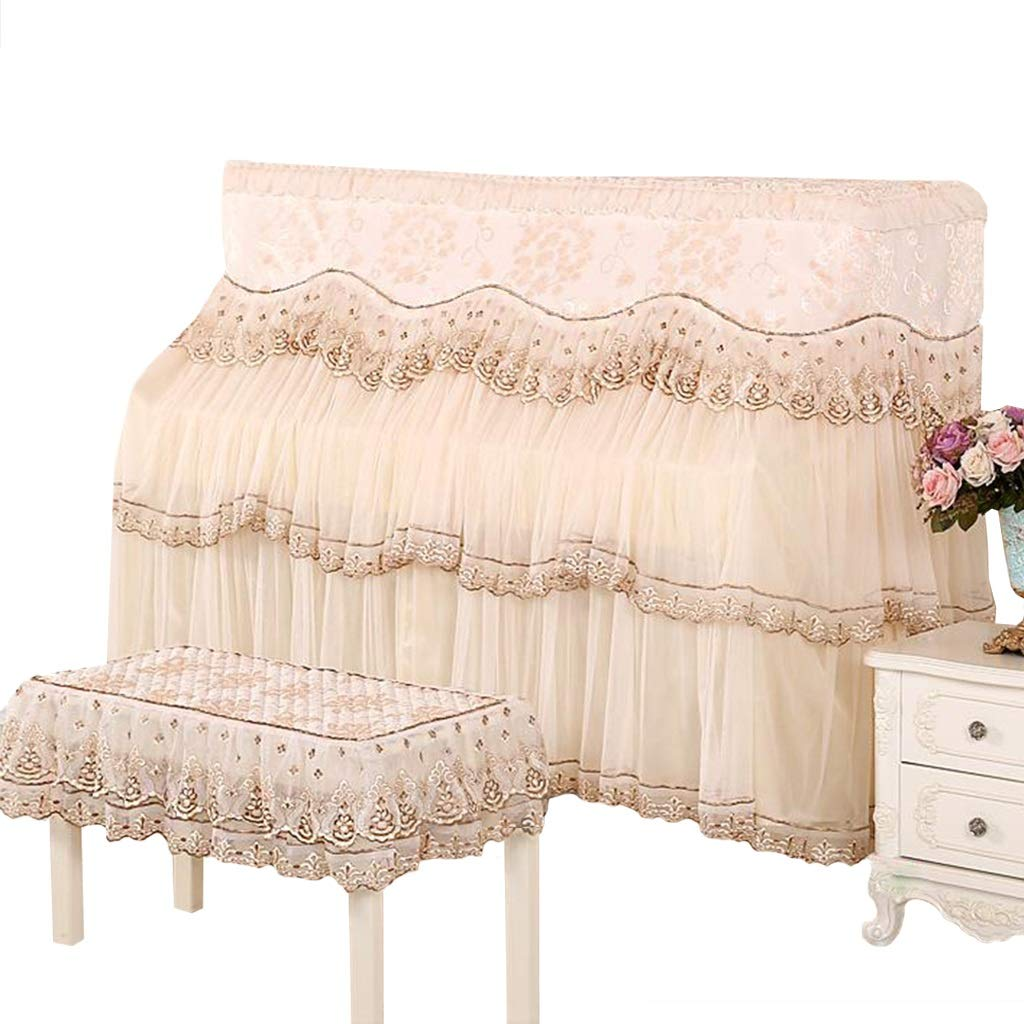 Piano Full Cover, Thickened Opening Curtain Lace Lace Piano Cover + Stool Cover (Color : Beige-153x34x120cm+58x38cm) by GQZ-Piano