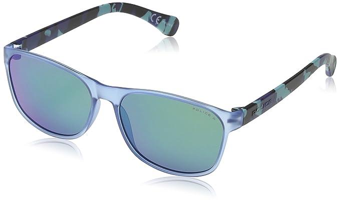 6648c05d18 Police - Gafas de sol Wayfarer S1986 Trick 1, SEMI MATT TRANSPARENT AZURE &  BLUE