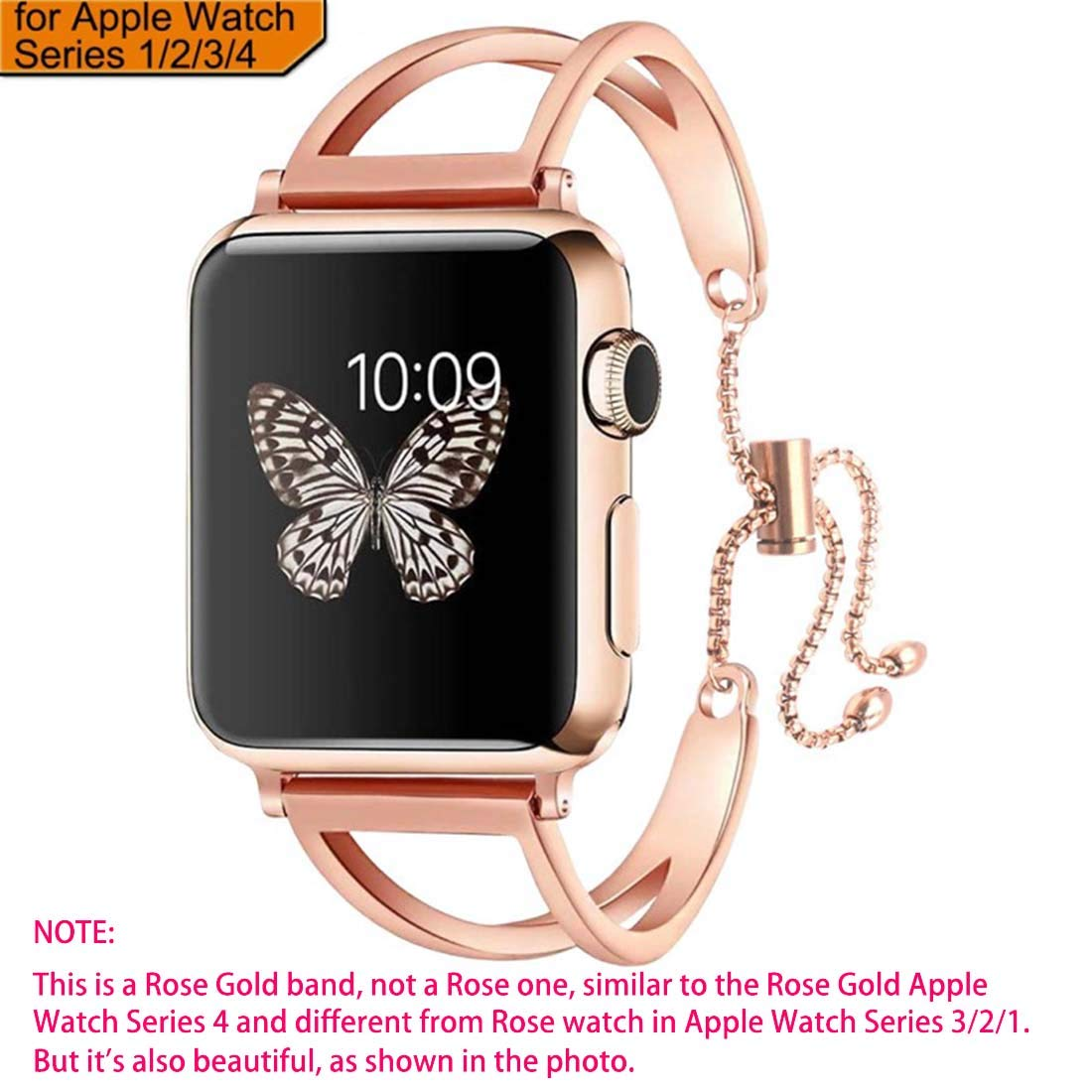 sunkeyou Compatible with IWatch Band 38mm 42mm, Newest Released Jewelry Bangle Cuff Replacement Bracelet Straps for Iwatch Series 4 3 2 1 All Models (Rose Gold, 38mm/40mm)