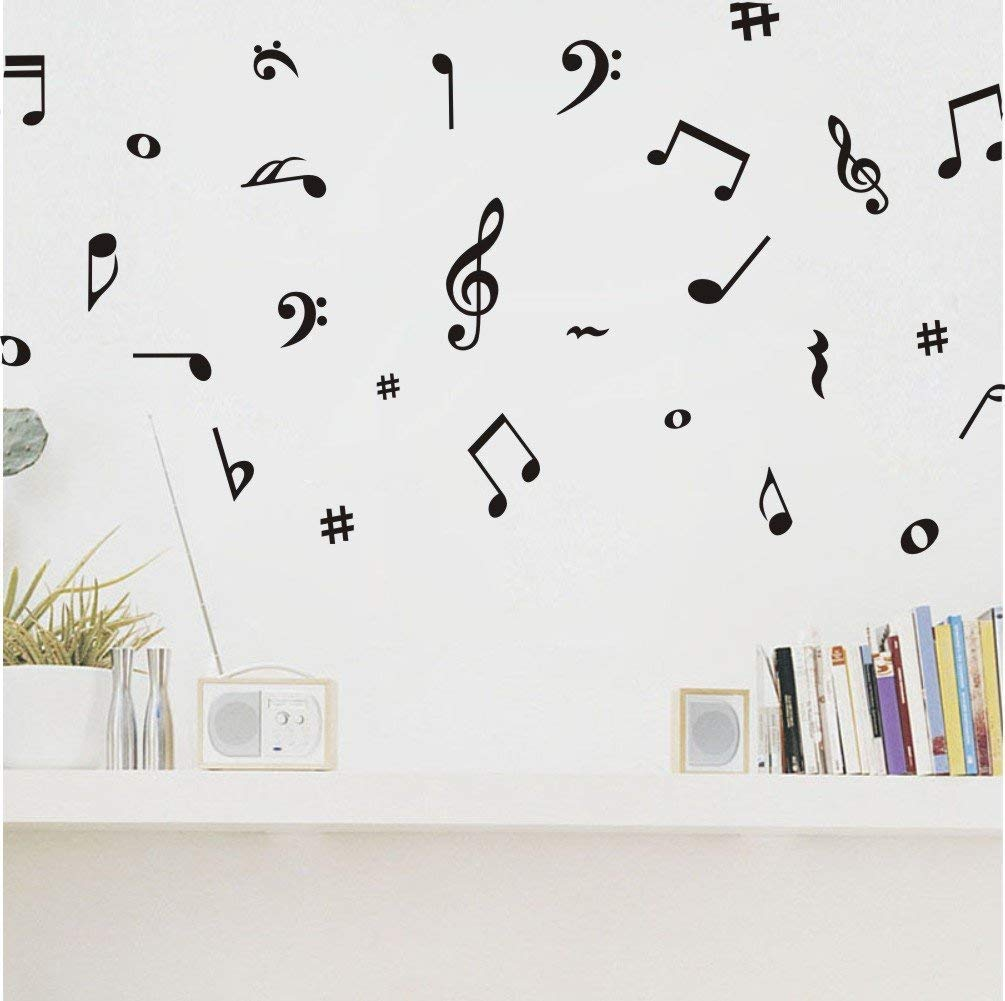 Arttop Musical Note Wall Decals Music Wall Stickers Quote Removable Vinyl Wall Decal for Classroom Recording Studio Decoration Home Decor