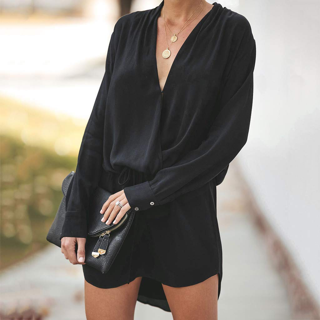 CZJJ Women Dress V Neck Sundress Long Sleeve Evening Party Lace Up Mini Dress