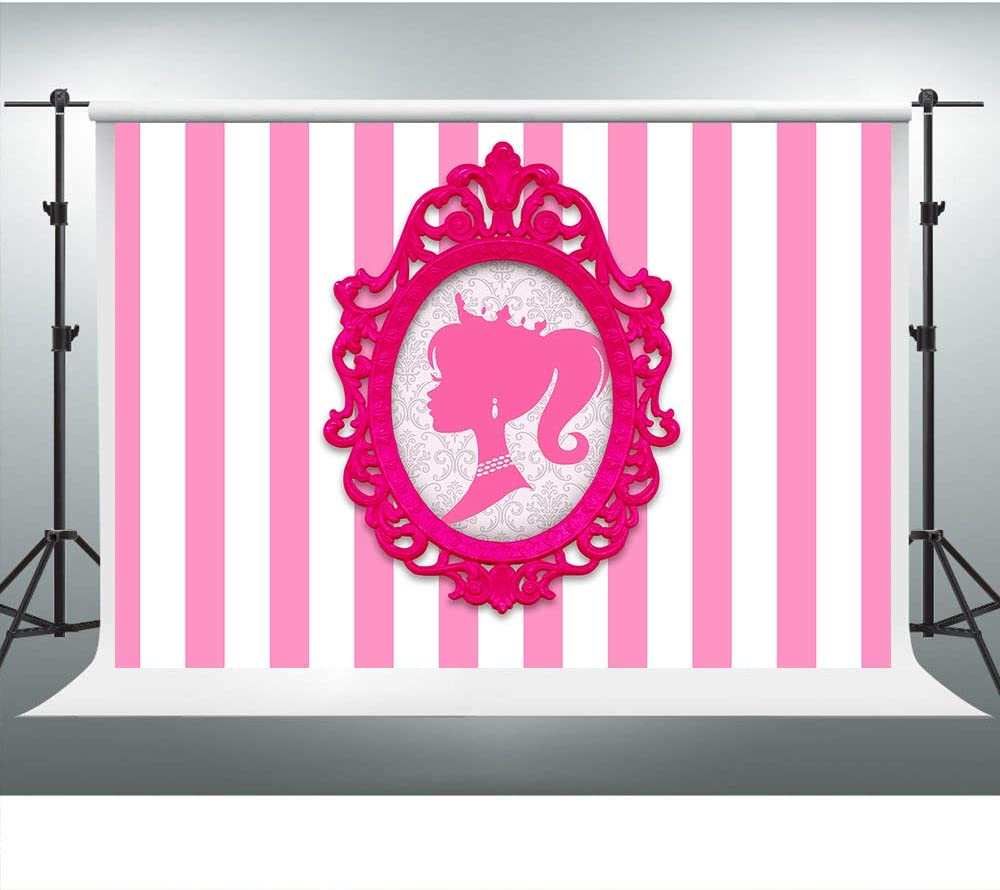 Pink White Stripes Backdrop for Barbie Party Doll Head Photo Frame Glamour Girl Photography Background 7x5ft Photo Booth Banner for Cake Table Supplies LSVV1009