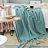 LakeMono Knit Throw Blanket American Style Couch/Bed/Office Crochet Blanket with Handmade Tassels Multi Color(Retro Green)