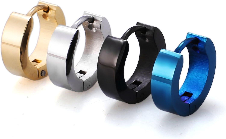 Jstyle Stainless Steel Black Unique Small Hoop Earrings for Men 1-4 Pairs Huggie Earrings