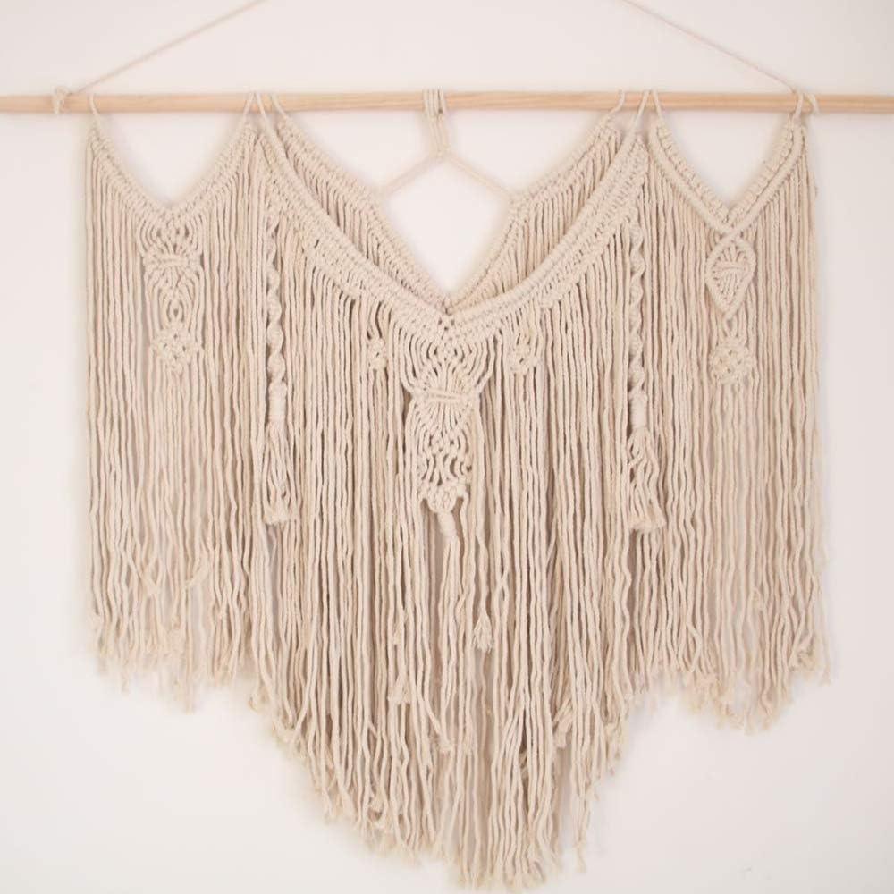 "Macrame Woven Wall Hanging, Woven Tapestry Beige, Boho Home Geometric Art Decor Beautiful Apartment Dorm Room Chic Bohemian Wall Art Decoration, 39""x35""-One Pack"