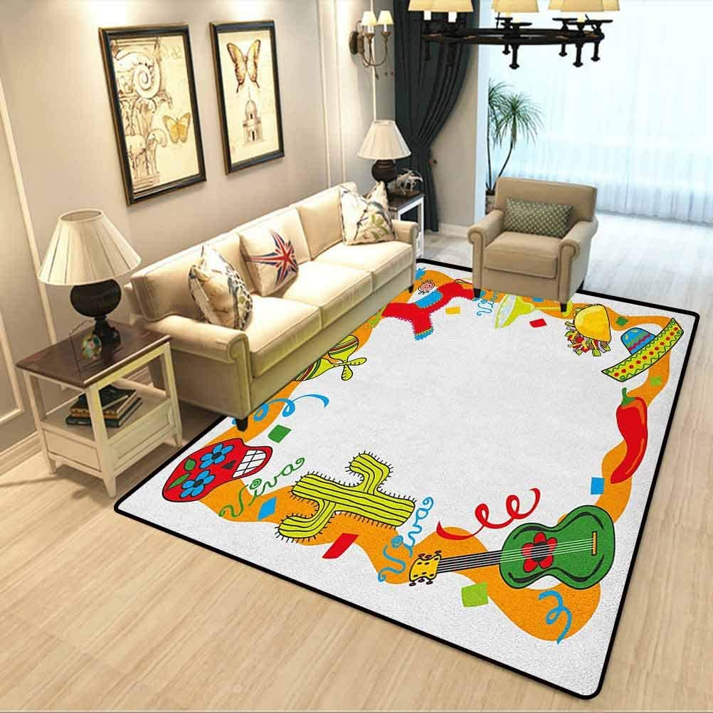 Amazon Com Fiesta Kids Living Room Carpet Cartoon Drawing Style Mexican Pinata Taco Chili Pepper Sugar Skull Pattern Guitar Cosy Cute Floor Rug For Kids And Teens Room Multicolor W4 5xl5 2 Feet Kitchen