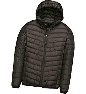 5965eb086 Mens Down Jacket with Hood Down Coat Lightweight Puffer Jacket Mens ...