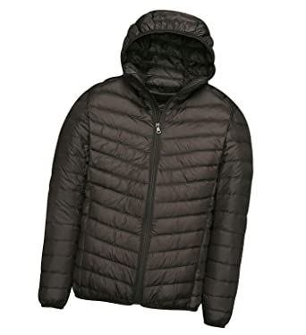 851827cd5 Mens Down Jacket with Hood Down Coat Lightweight Puffer Jacket Mens Hooded  Ultra Light Packable Down Filled Jackets Men's Stand Collar Padded Puffa ...