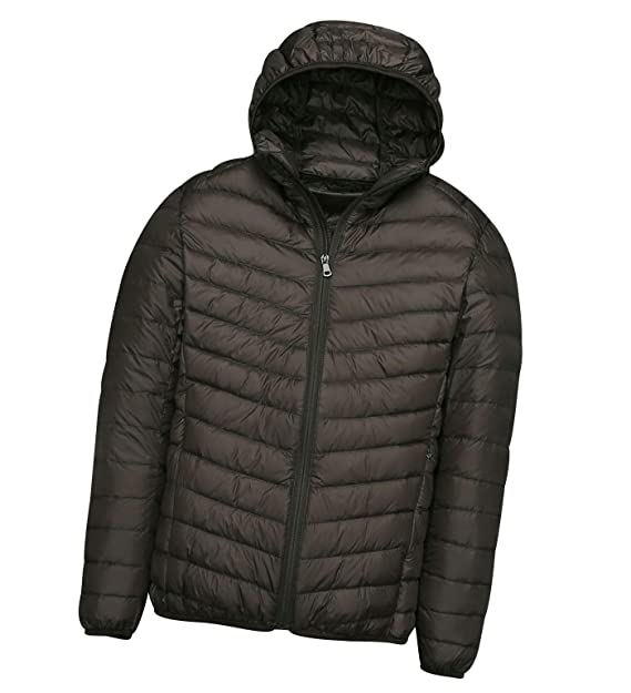 Mens Down Jacket with Hood Down Coat Lightweight Puffer Jacket Mens Hooded Ultra Light Packable Down Filled Jackets Men's Stand Collar Padded Puffa