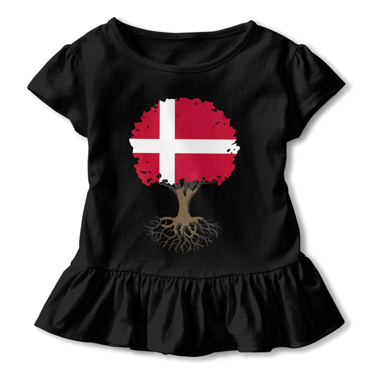 HYBDX9T Little Girls Tree of Life with Denmark Flag Funny Short Sleeve Cotton T Shirts Basic Tops Tee Clothes