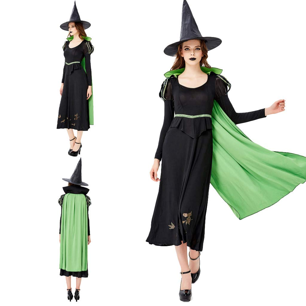 charmsamx Womens Halloween Witch Costume Classic Spellcaster Witch Cosplay Spooky Halloween Clothes Black Casual Dress with Witch Hat and Green Capes for Party Festival by charmsamx