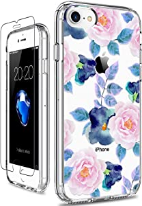 GiiKa iPhone 8 Case, iPhone 7 Case with Screen Protector, Clear Heavy Duty Protective Case Floral Girls Women Hard PC Back Case with Slim TPU Bumper Cover Phone Case for iPhone 8, Pink Blue Flowers