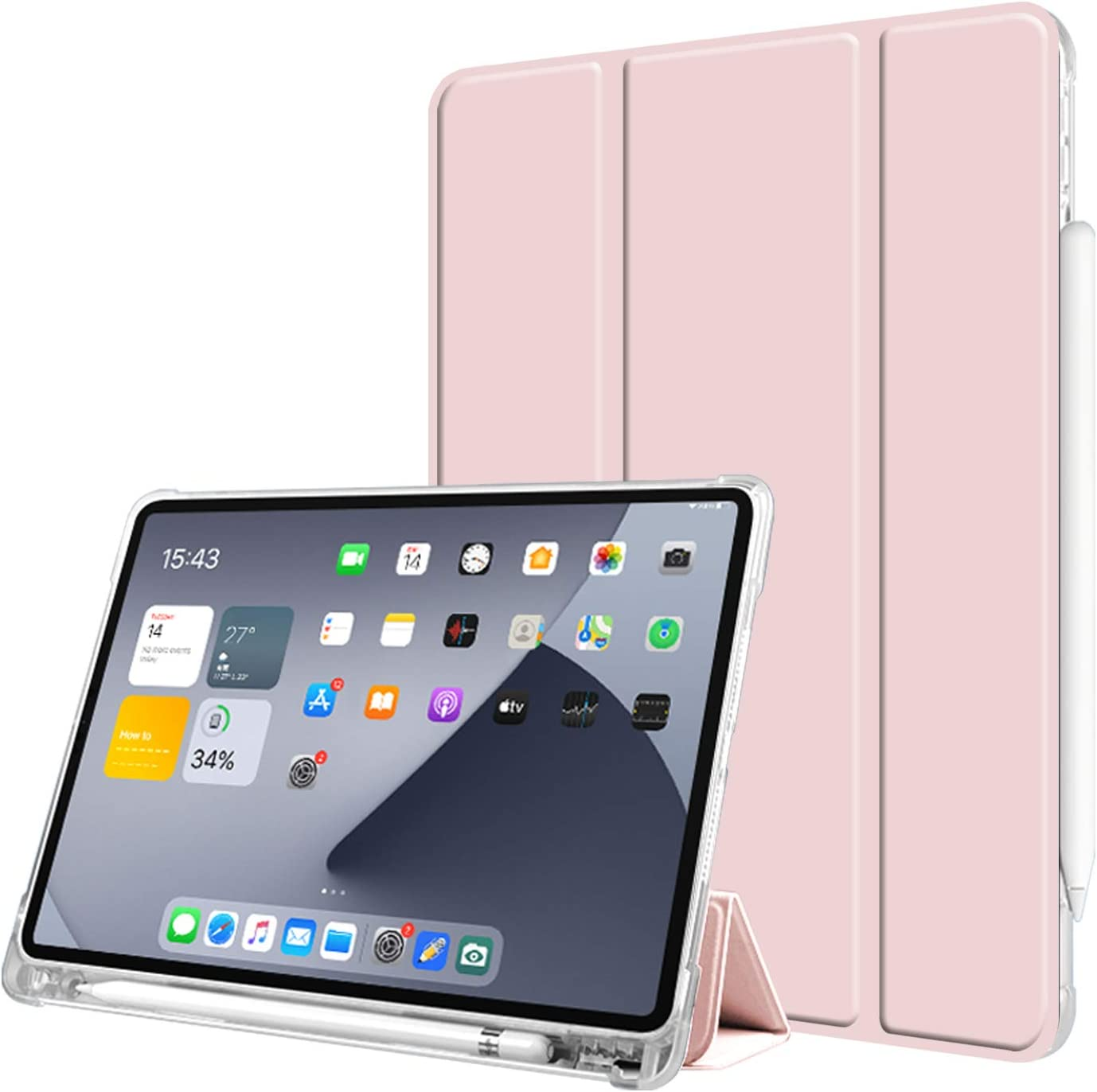 Aoub Case for iPad pro 11 2020 & 2018, Trifold Stand Auto Wake/Sleep Slim Smart Cover Clear Transparent Soft TPU Shockproof Case with Pencil Holder for New Apple iPad Pro 11 inch, Light Pink